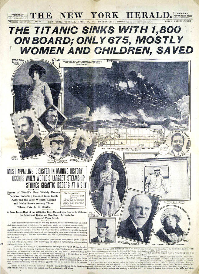 The New York Herald reports the Titanic disaster