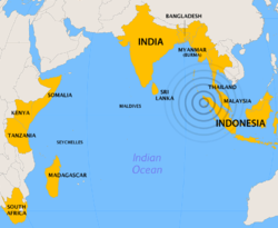 Indian Ocean Map of Effected Countries