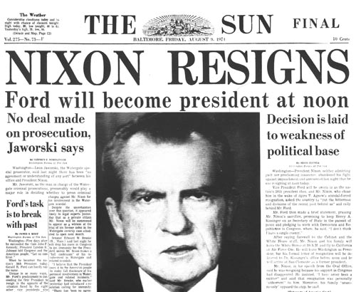 President Nixon Resigns over Smoking Gun Tape