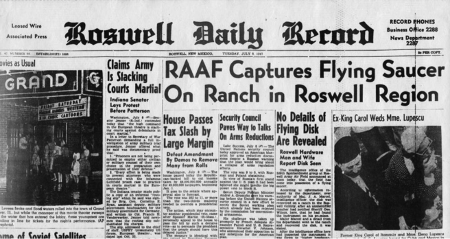 Roswell Daily Record Newspaper on UFO Crash Site